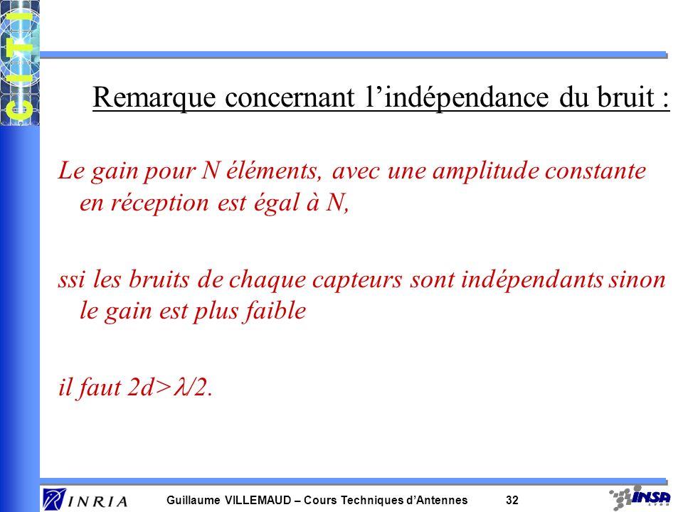 Guillaume VILLEMAUD – Cours Techniques dAntennes 31 Exemple avec l antenne à 2 éléments –après filtrage : –le gain en SNR lié au filtrage : Rq : pour