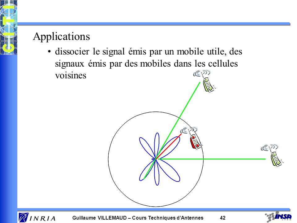 Guillaume VILLEMAUD – Cours Techniques dAntennes 41 0.5 1 1.5 30 210 60 240 90 270 120 300 150 330 1800 0 = /4; int =[ /3,0] ; 4 antennes, 2d=0.5 filt