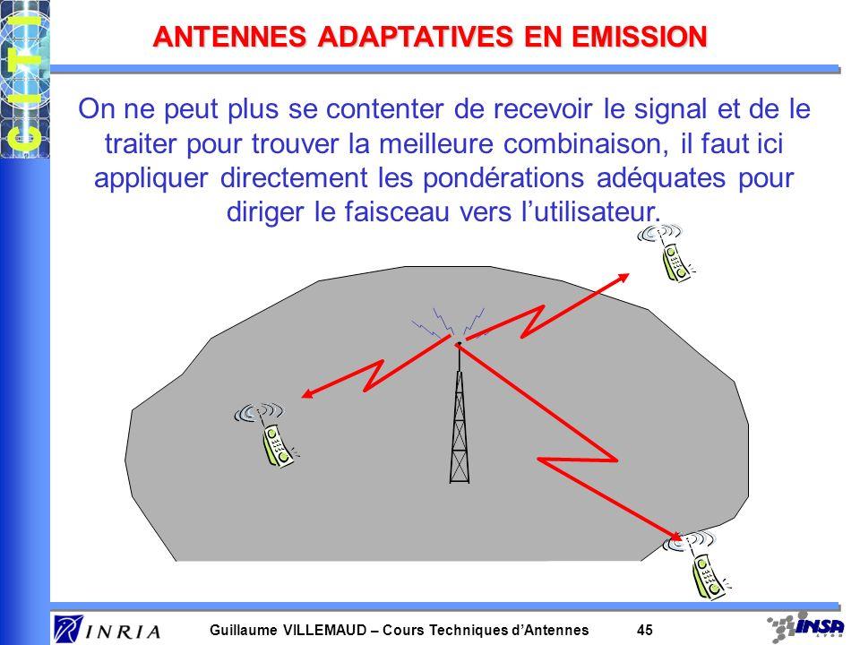 Guillaume VILLEMAUD – Cours Techniques dAntennes 44 On peut alors réduire totalement les interférences entre mobiles internes à une cellule. On peut m