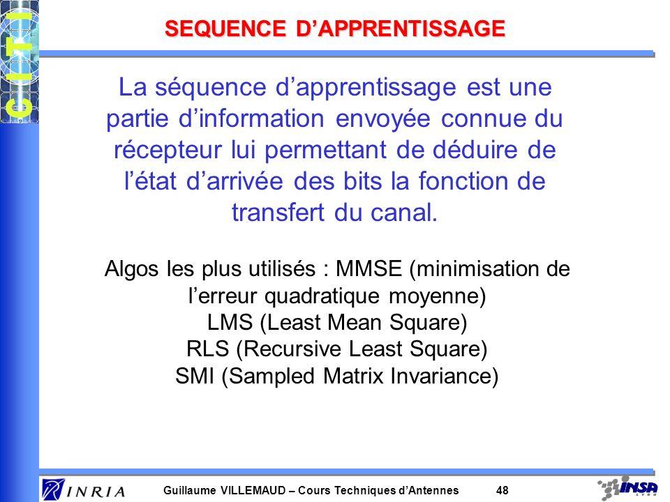 Guillaume VILLEMAUD – Cours Techniques dAntennes 47 DIFFERENTS ALGORITHMES 3 grandes catégories dalgorithme : -ceux nécessitant une séquence dapprenti