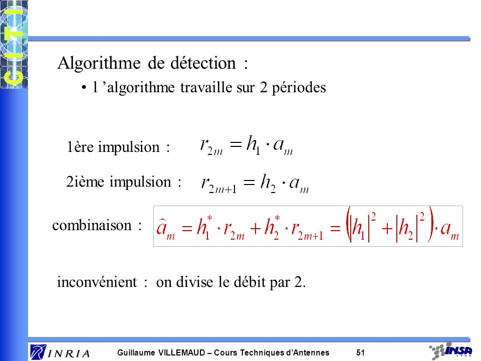 Guillaume VILLEMAUD – Cours Techniques dAntennes 50 Emission alternée dun symbole sur A 1 et A 2 : h1h1h1h1 h2h2h2h2