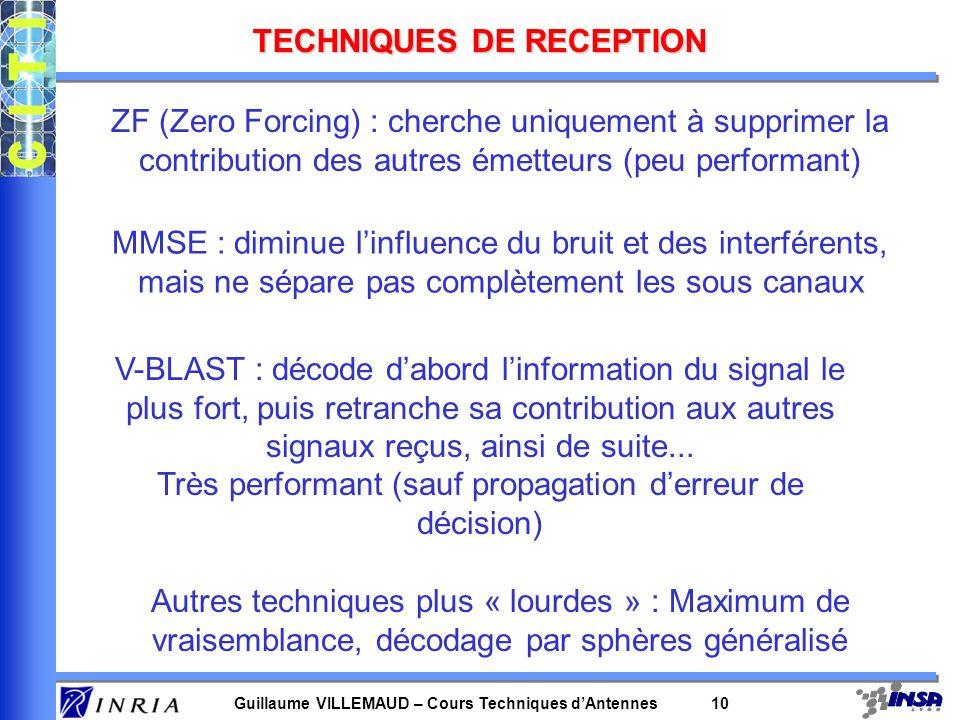 Guillaume VILLEMAUD – Cours Techniques dAntennes 10 TECHNIQUES DE RECEPTION ZF (Zero Forcing) : cherche uniquement à supprimer la contribution des aut