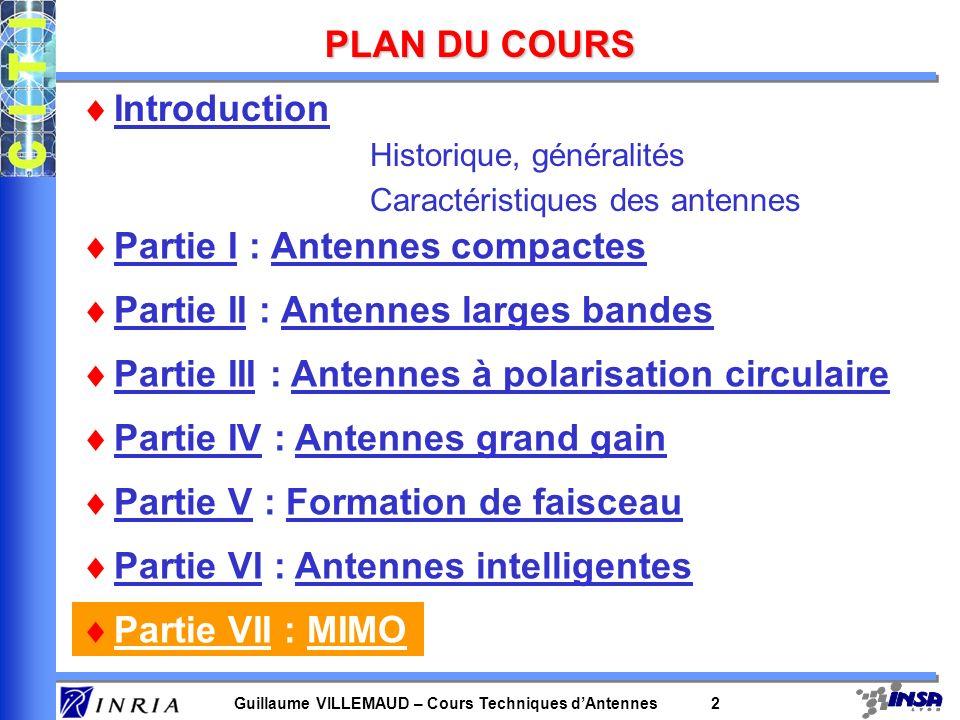Guillaume VILLEMAUD – Cours Techniques dAntennes 3 LES PRINCIPALES TECHNIQUES