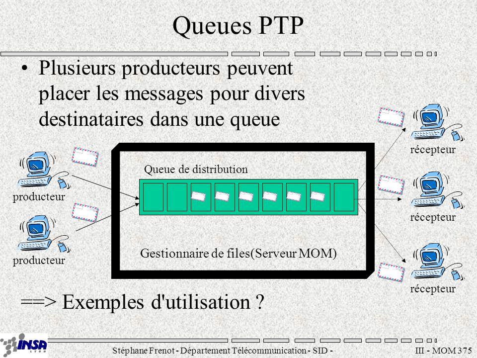Stéphane Frenot - Département Télécommunication - SID - stephane.frenot@insa-lyon.fr III - MOM 376 Le domaine P/S Les producteurs de messages (appelés publishers) génèrent des données pour de multiples clients (subscribers) ==> Mécanisme similaire .