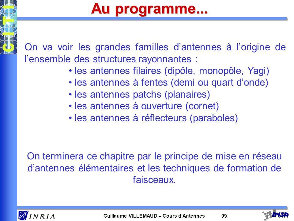 Guillaume VILLEMAUD – Cours dAntennes 99 Au programme... On va voir les grandes familles dantennes à lorigine de lensemble des structures rayonnantes
