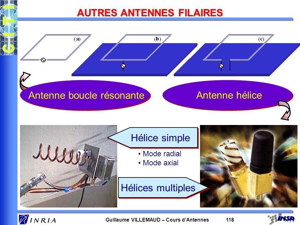 Guillaume VILLEMAUD – Cours dAntennes 118 AUTRES ANTENNES FILAIRES Antenne boucle résonanteAntenne hélice Hélices multiples Hélice simple Mode radial