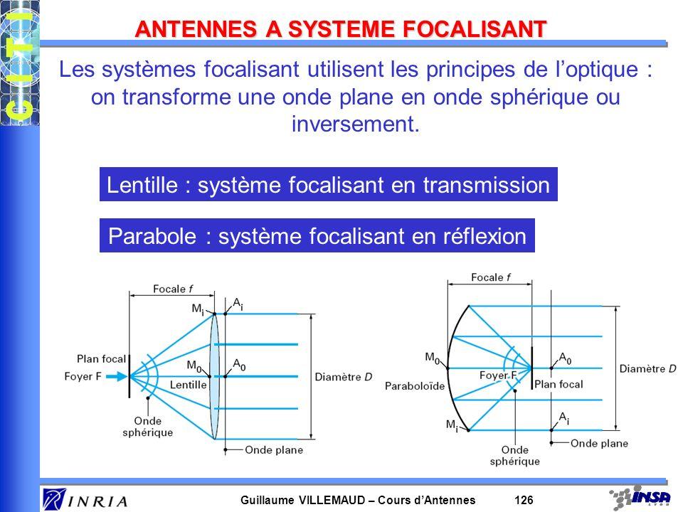 Guillaume VILLEMAUD – Cours dAntennes 126 ANTENNES A SYSTEME FOCALISANT Les systèmes focalisant utilisent les principes de loptique : on transforme un