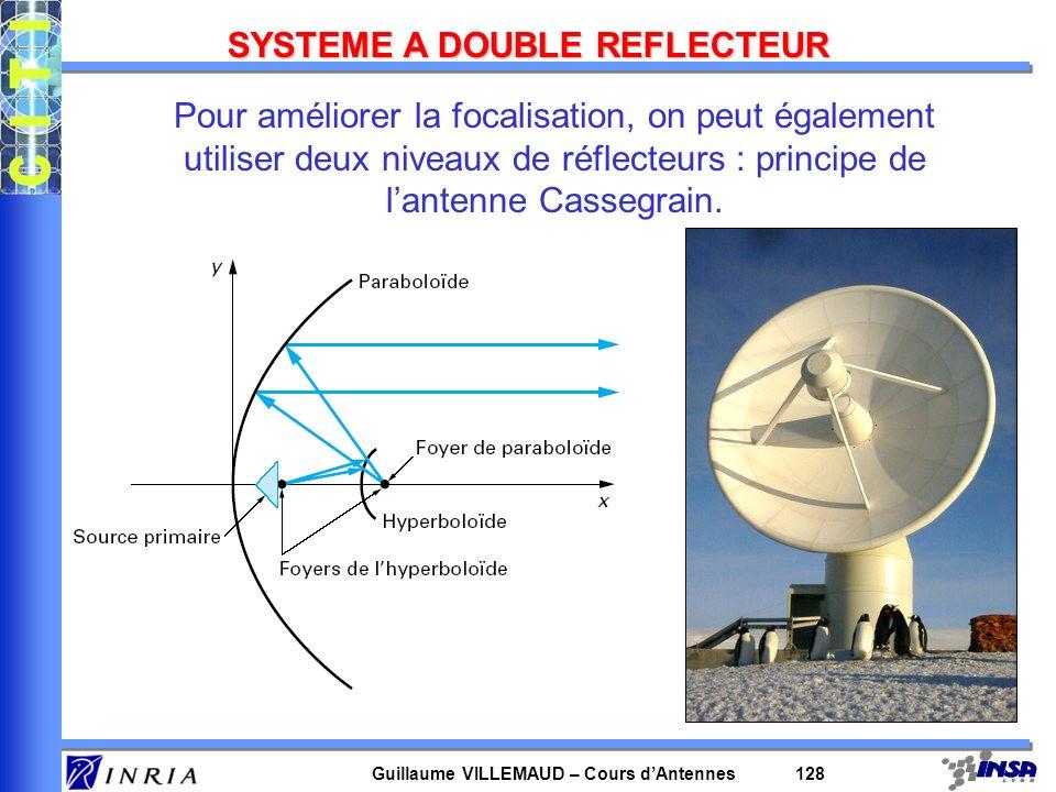 Guillaume VILLEMAUD – Cours dAntennes 128 SYSTEME A DOUBLE REFLECTEUR Pour améliorer la focalisation, on peut également utiliser deux niveaux de réfle