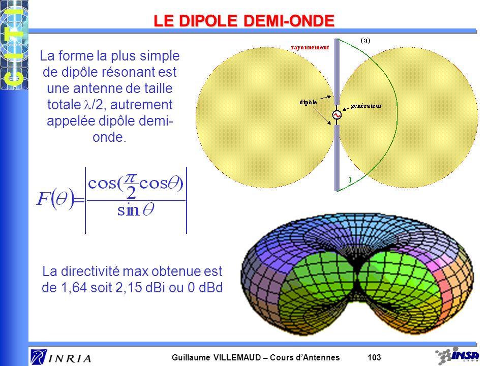 Guillaume VILLEMAUD – Cours dAntennes 103 LE DIPOLE DEMI-ONDE La forme la plus simple de dipôle résonant est une antenne de taille totale /2, autremen