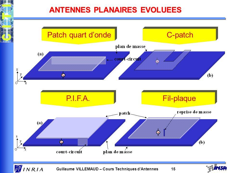 Guillaume VILLEMAUD – Cours Techniques dAntennes 15 ANTENNES PLANAIRES EVOLUEES Patch quart dondeC-patch P.I.F.A.Fil-plaque