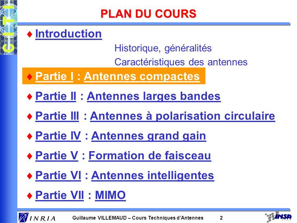 Guillaume VILLEMAUD – Cours Techniques dAntennes 23 ANTENNES PLANAIRES EVOLUEES Fil-plaques imbriquées Double C-patch