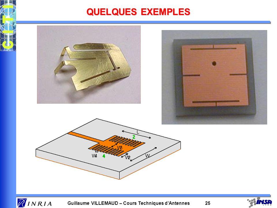 Guillaume VILLEMAUD – Cours Techniques dAntennes 25 QUELQUES EXEMPLES