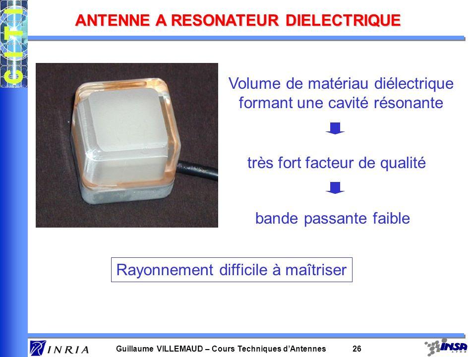 Guillaume VILLEMAUD – Cours Techniques dAntennes 26 ANTENNE A RESONATEUR DIELECTRIQUE Volume de matériau diélectrique formant une cavité résonante trè