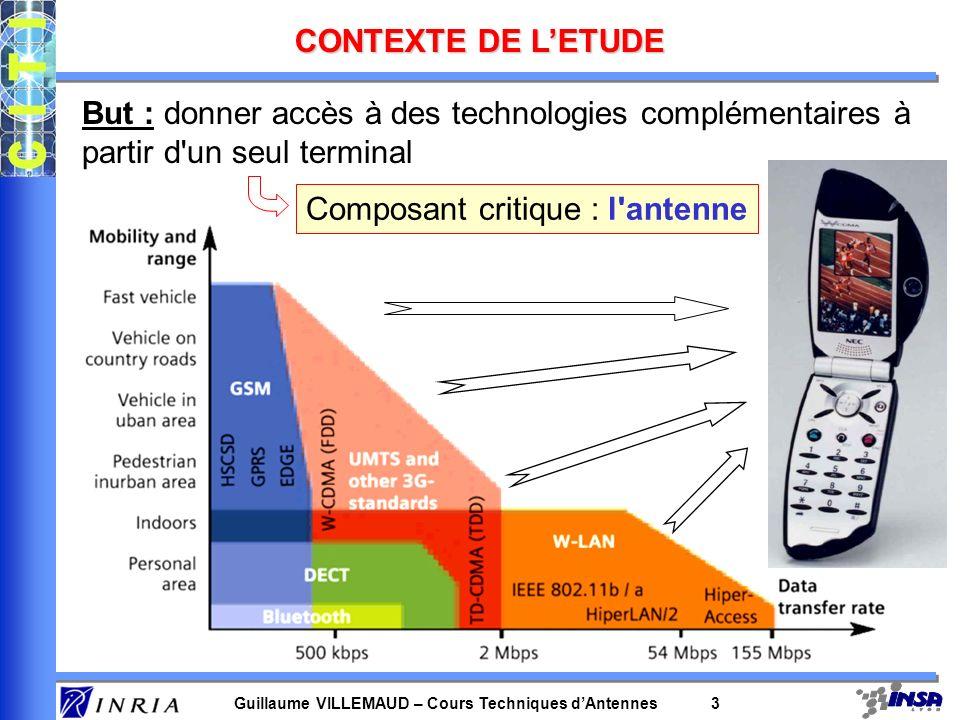 Guillaume VILLEMAUD – Cours Techniques dAntennes 3 CONTEXTE DE LETUDE But : donner accès à des technologies complémentaires à partir d'un seul termina