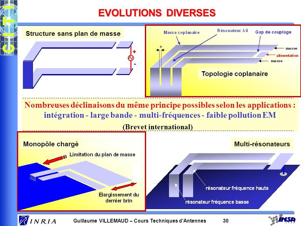 Guillaume VILLEMAUD – Cours Techniques dAntennes 30 EVOLUTIONS DIVERSES Structure sans plan de masse Topologie coplanaire Monopôle chargéMulti-résonat