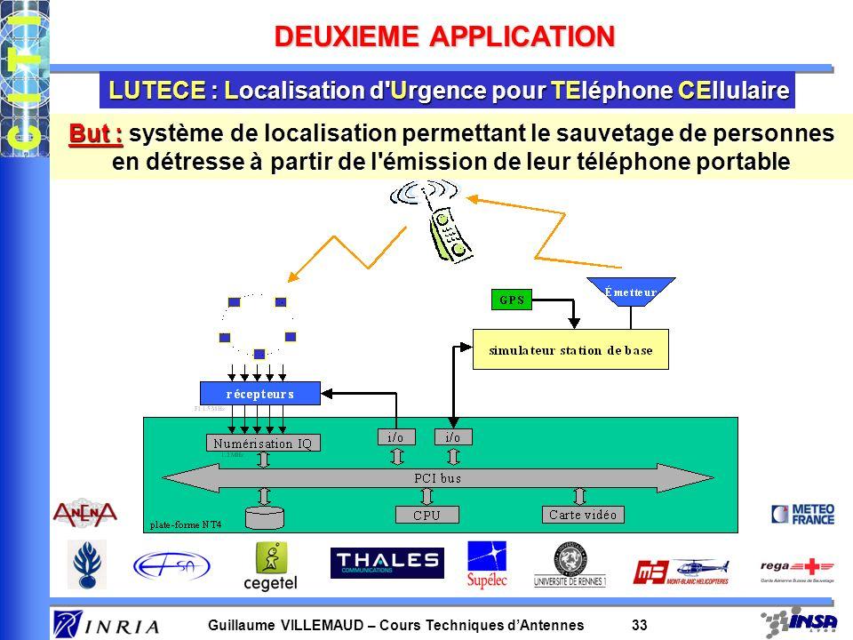 Guillaume VILLEMAUD – Cours Techniques dAntennes 33 LUTECE : Localisation d'Urgence pour TEléphone CEllulaire DEUXIEME APPLICATION But : système de lo