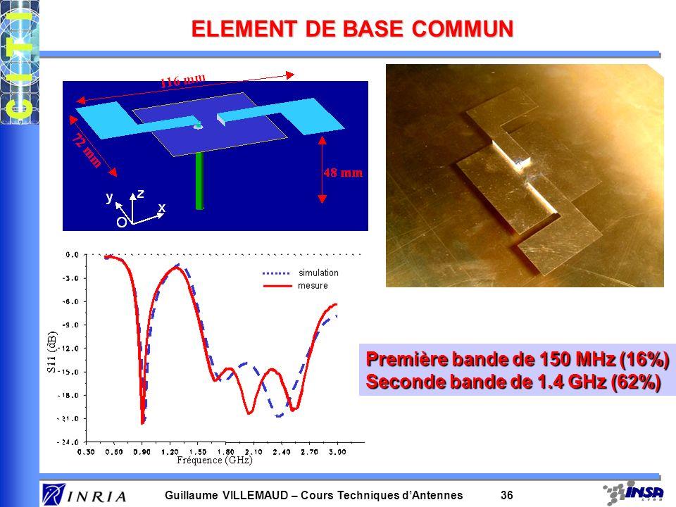 Guillaume VILLEMAUD – Cours Techniques dAntennes 36 ELEMENT DE BASE COMMUN Première bande de 150 MHz (16%) Seconde bande de 1.4 GHz (62%)