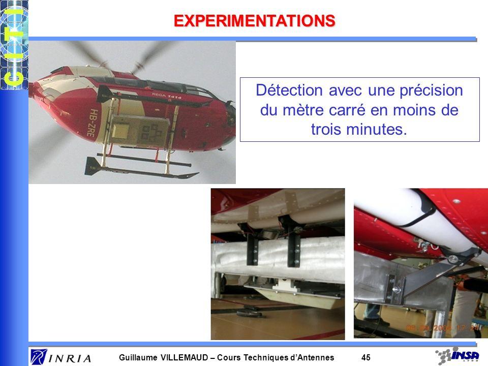 Guillaume VILLEMAUD – Cours Techniques dAntennes 45 EXPERIMENTATIONS Détection avec une précision du mètre carré en moins de trois minutes.