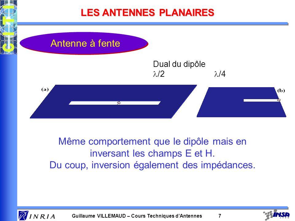 Guillaume VILLEMAUD – Cours Techniques dAntennes 8 LES ANTENNES PLANAIRES Antenne patch Pastille métallique à la surface dun substrat diélectrique dont la face inférieure est métallisée.