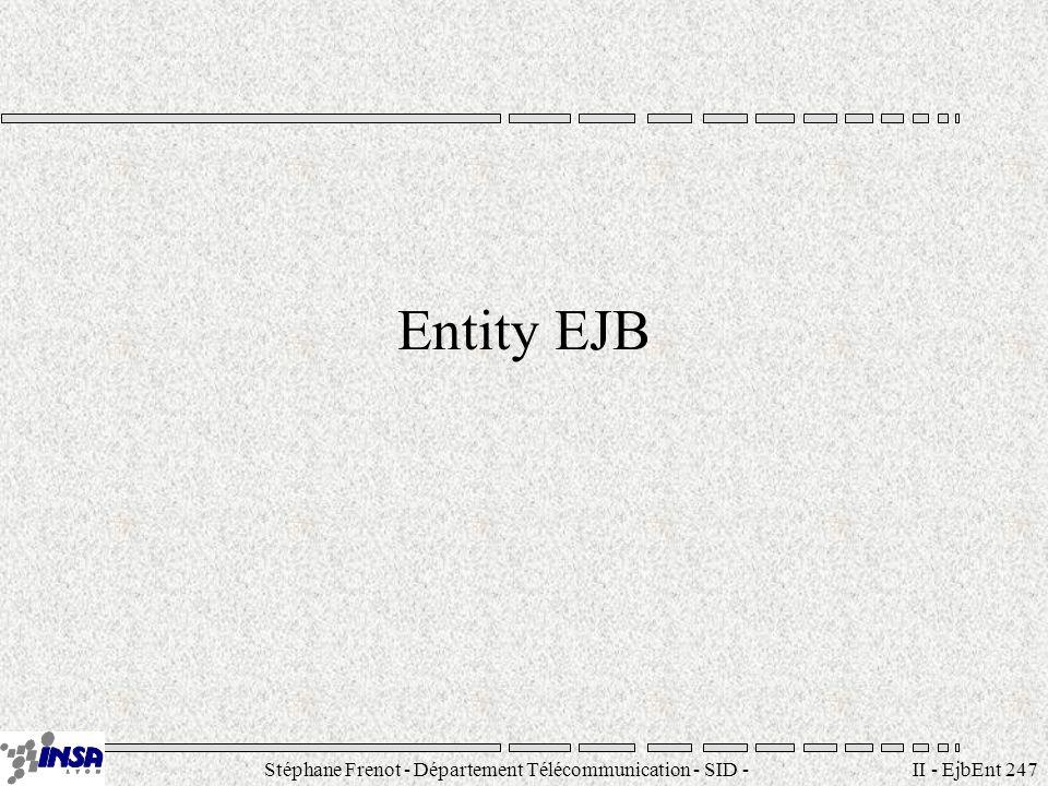 Stéphane Frenot - Département Télécommunication - SID - stephane.frenot@insa-lyon.fr II - EjbEnt 258 Expression de recherche Syntaxe LISP-like opérateur opérande1 opérande2 Opérateurs disponibles –(), =,, >=, !, &, |, like Opérandes possibles –1) une autre expression –2) un attribut d un EJB –3) un paramètre récupéré dans l invocation du find Exemple : (> balance $amount) (& (> bal $amount) (!(=accountType checking ))) (= 1 1) (like lastName M%)
