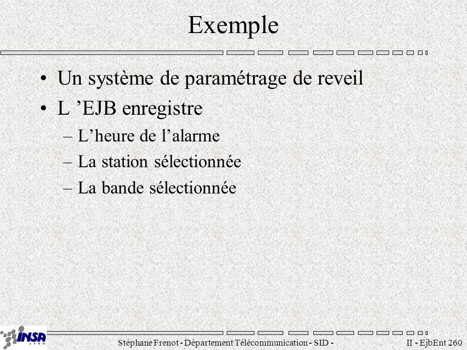 Stéphane Frenot - Département Télécommunication - SID - stephane.frenot@insa-lyon.fr II - EjbEnt 260 Exemple Un système de paramétrage de reveil L EJB
