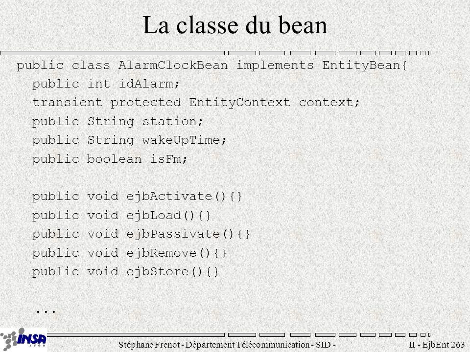Stéphane Frenot - Département Télécommunication - SID - stephane.frenot@insa-lyon.fr II - EjbEnt 263 La classe du bean public class AlarmClockBean imp