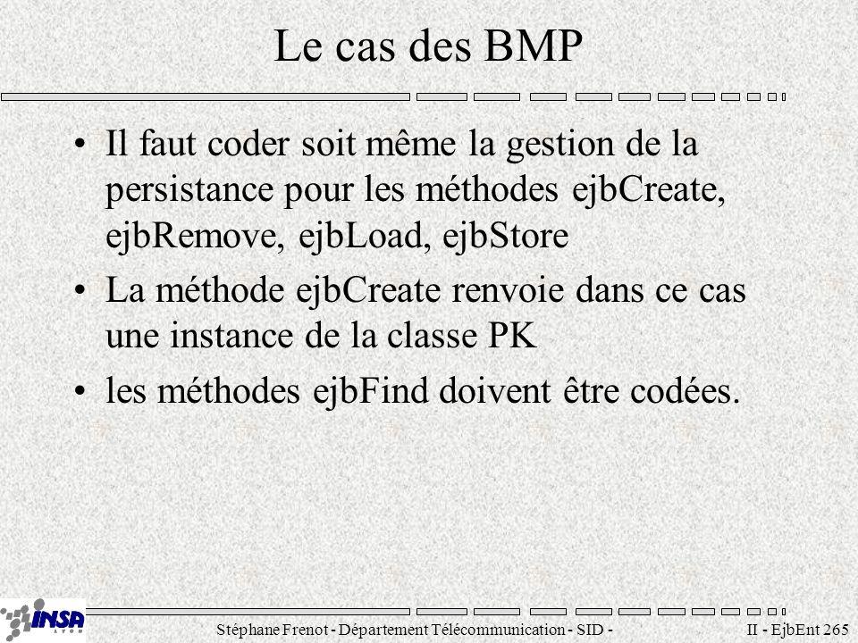 Stéphane Frenot - Département Télécommunication - SID - stephane.frenot@insa-lyon.fr II - EjbEnt 265 Le cas des BMP Il faut coder soit même la gestion