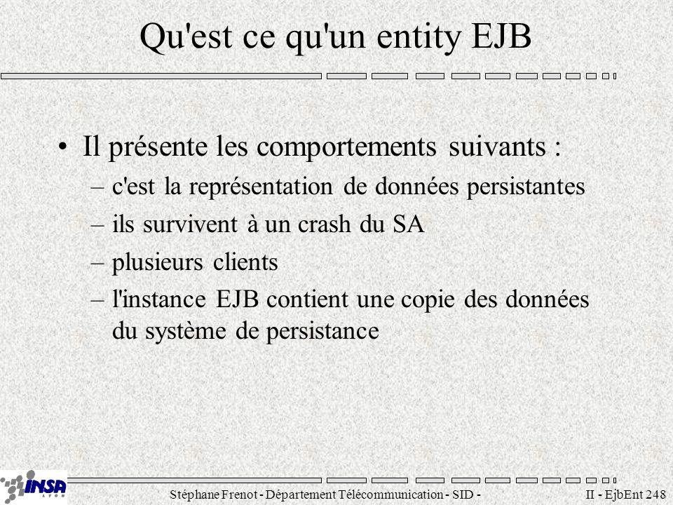 Stéphane Frenot - Département Télécommunication - SID - stephane.frenot@insa-lyon.fr II - EjbEnt 259 Ecriture de la classe du Bean La classe doit implanter l interface EntityBean public interface EntityBean extends EnterpriseBean { public void ejbActivate (); public void ejbPassivate(); public void ejbLoad(); public void ejbStore(); public void setEntityContext(EntityContext ctx); public void unsetEntityContext (); public void ejbRemove (); } Autres points –Les méthodes ejbCreate retournent void pour les CMP –Il nest pas nécessaire de développer des méthodes find pour les CMP