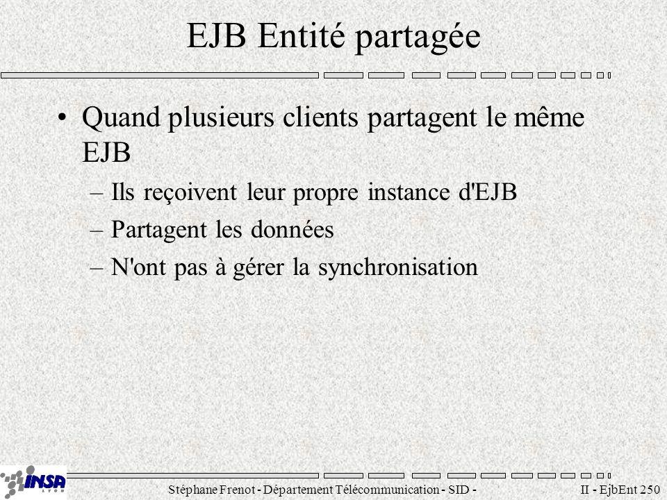 Stéphane Frenot - Département Télécommunication - SID - stephane.frenot@insa-lyon.fr II - EjbEnt 261 Interface Remote public interface AlarmClock extends EJBObject { public Date getAlarmTime() throws RemoteException; public String getRadioStation() throws...; public boolean isFmSet() throws...; public void isFmset(boolean fm)...