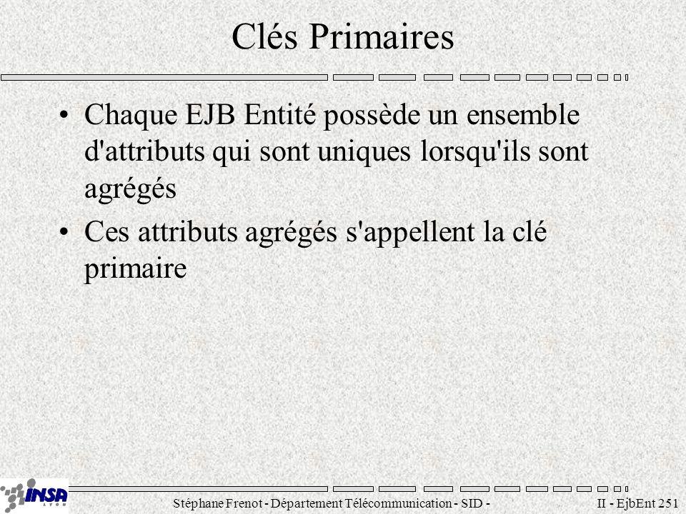 Stéphane Frenot - Département Télécommunication - SID - stephane.frenot@insa-lyon.fr II - EjbEnt 251 Clés Primaires Chaque EJB Entité possède un ensem
