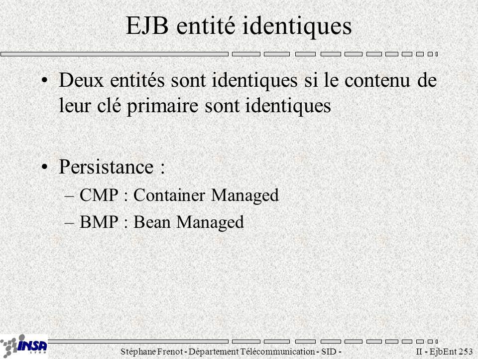 Stéphane Frenot - Département Télécommunication - SID - stephane.frenot@insa-lyon.fr II - EjbEnt 253 EJB entité identiques Deux entités sont identiques si le contenu de leur clé primaire sont identiques Persistance : –CMP : Container Managed –BMP : Bean Managed