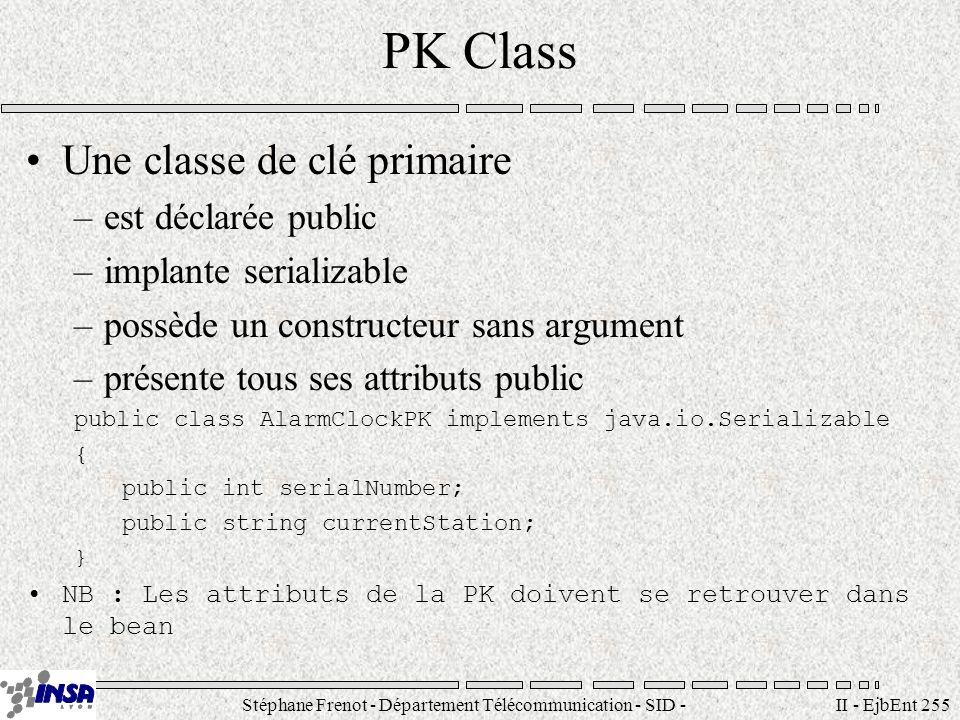 Stéphane Frenot - Département Télécommunication - SID - stephane.frenot@insa-lyon.fr II - EjbEnt 255 PK Class Une classe de clé primaire –est déclarée