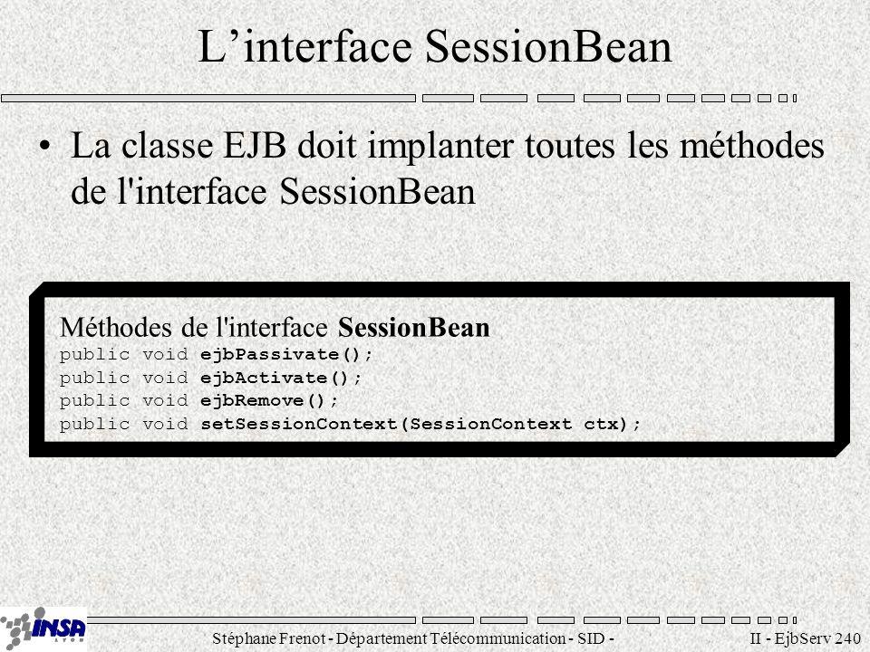 Stéphane Frenot - Département Télécommunication - SID - stephane.frenot@insa-lyon.fr II - EjbServ 240 Linterface SessionBean La classe EJB doit implan