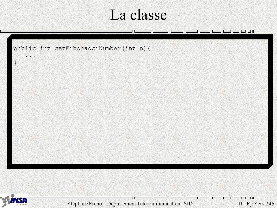 Stéphane Frenot - Département Télécommunication - SID - stephane.frenot@insa-lyon.fr II - EjbServ 246 La classe public int getFibonacciNumber(int n){.