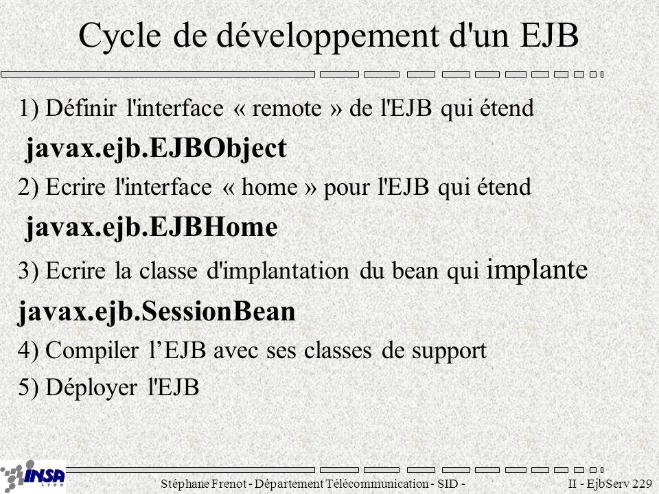 Stéphane Frenot - Département Télécommunication - SID - stephane.frenot@insa-lyon.fr II - EjbServ 229 Cycle de développement d'un EJB 1) Définir l'int