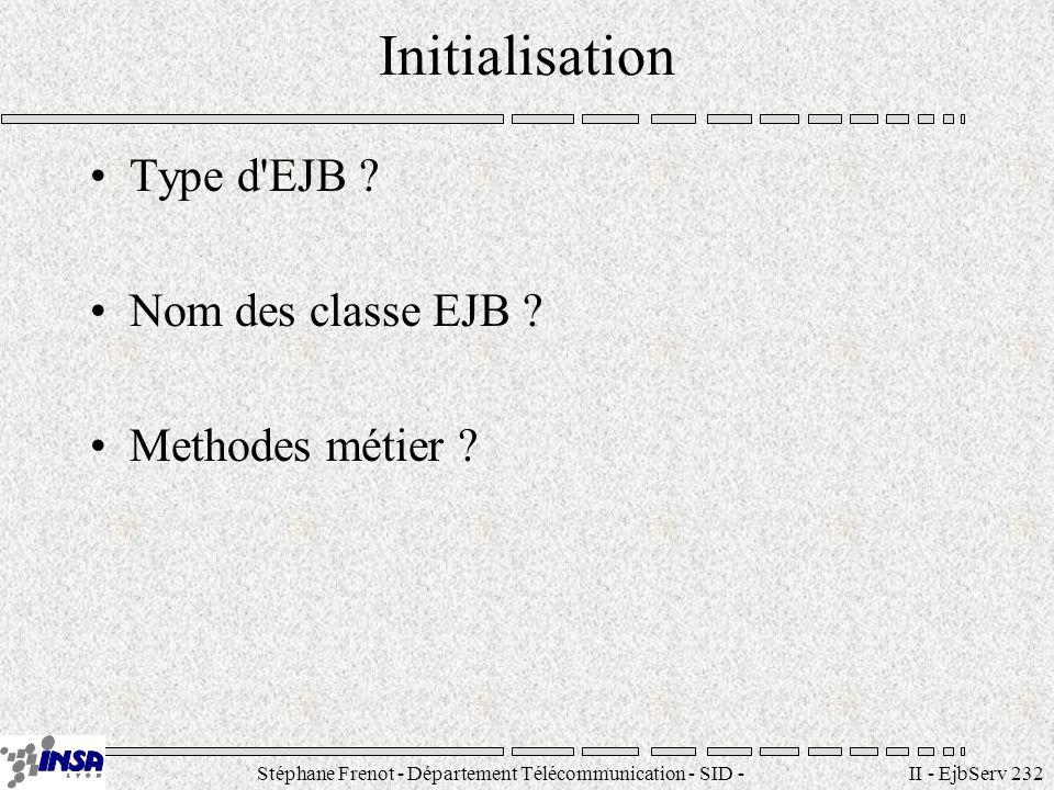 Stéphane Frenot - Département Télécommunication - SID - stephane.frenot@insa-lyon.fr II - EjbServ 232 Initialisation Type d'EJB ? Nom des classe EJB ?