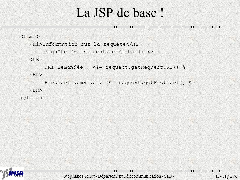 Stéphane Frenot - Département Télécommunication - SID - stephane.frenot@insa-lyon.fr II - Jsp 276 La JSP de base ! Information sur la requête Requête