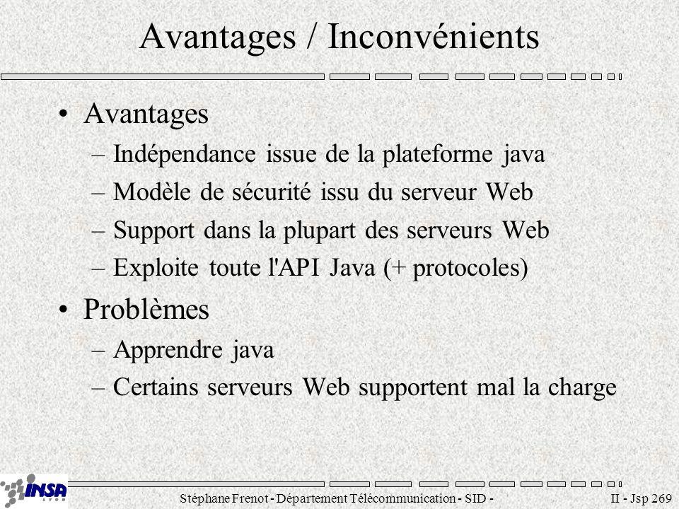 Stéphane Frenot - Département Télécommunication - SID - stephane.frenot@insa-lyon.fr II - Jsp 269 Avantages / Inconvénients Avantages –Indépendance is