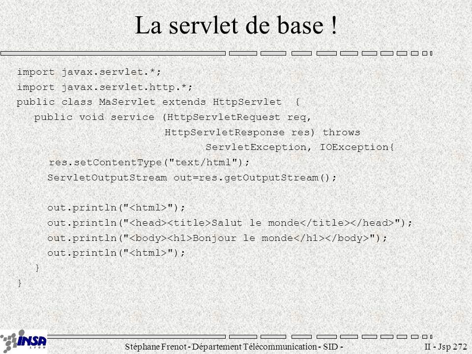 Stéphane Frenot - Département Télécommunication - SID - stephane.frenot@insa-lyon.fr II - Jsp 272 La servlet de base ! import javax.servlet.*; import
