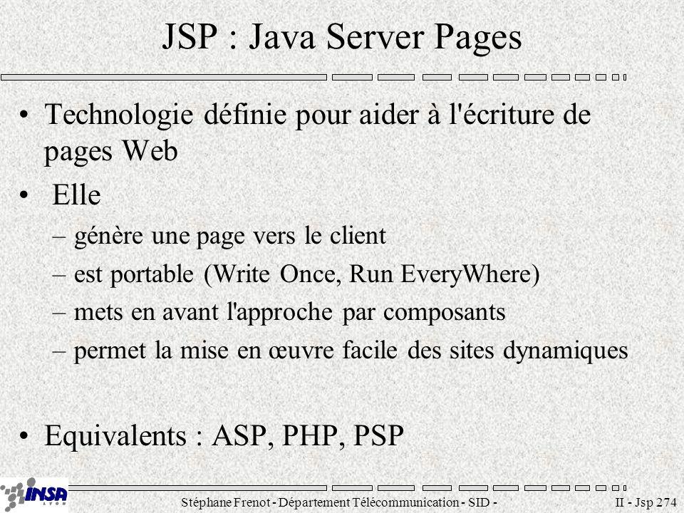 Stéphane Frenot - Département Télécommunication - SID - stephane.frenot@insa-lyon.fr II - Jsp 274 JSP : Java Server Pages Technologie définie pour aid