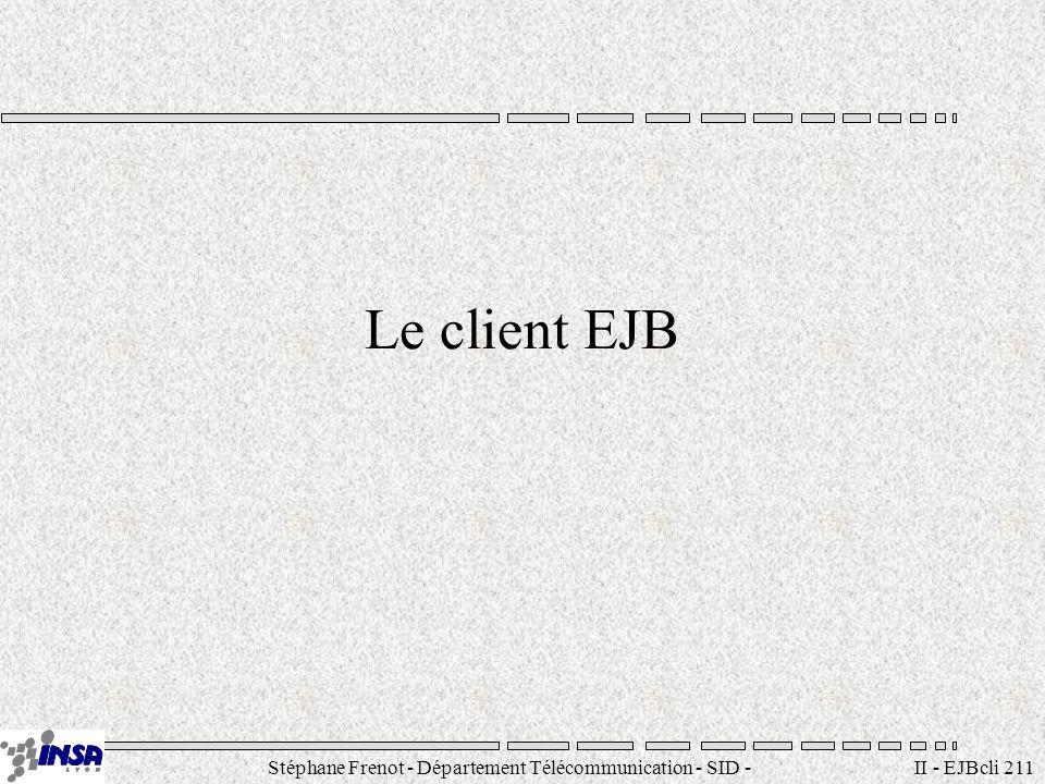 Stéphane Frenot - Département Télécommunication - SID - stephane.frenot@insa-lyon.fr II - EJBcli 211 Le client EJB