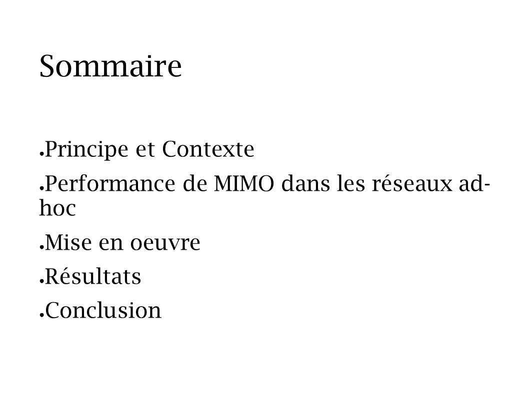 Sommaire Principe et Contexte Performance de MIMO dans les réseaux ad- hoc Mise en oeuvre Résultats Conclusion
