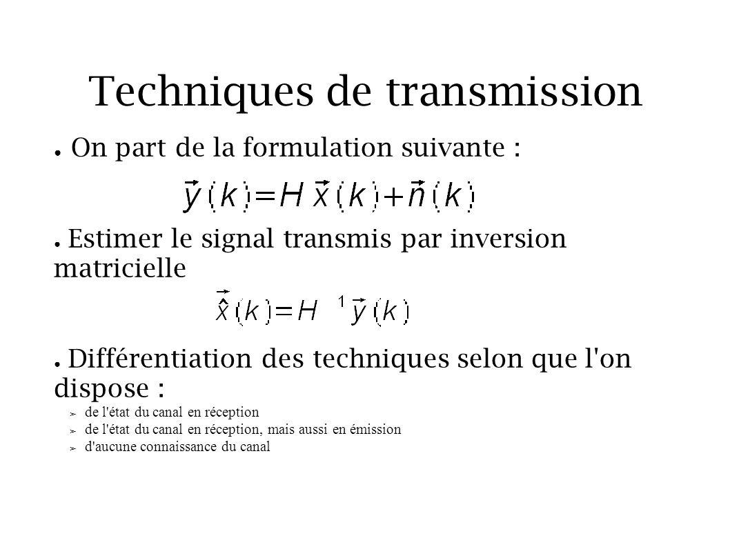 Techniques de transmission On part de la formulation suivante : Estimer le signal transmis par inversion matricielle Différentiation des techniques se
