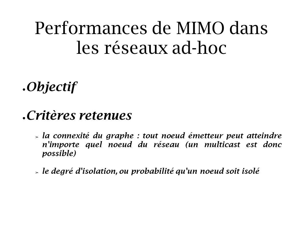 Performances de MIMO dans les réseaux ad-hoc Objectif Critères retenues la connexité du graphe : tout noeud émetteur peut atteindre n'importe quel noe