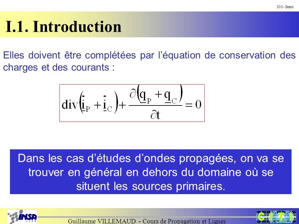 Guillaume VILLEMAUD - Cours de Propagation et Lignes I.1. Introduction 301- Intro Elles doivent être complétées par léquation de conservation des char