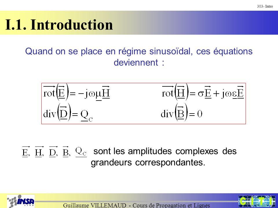Guillaume VILLEMAUD - Cours de Propagation et Lignes I.1. Introduction 303- Intro Quand on se place en régime sinusoïdal, ces équations deviennent : s