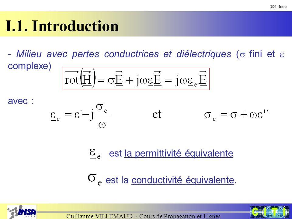 Guillaume VILLEMAUD - Cours de Propagation et Lignes I.1. Introduction 306- Intro - Milieu avec pertes conductrices et diélectriques ( fini et complex