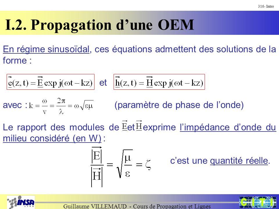Guillaume VILLEMAUD - Cours de Propagation et Lignes I.2. Propagation dune OEM 316- Intro En régime sinusoïdal, ces équations admettent des solutions