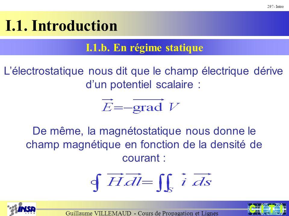 Guillaume VILLEMAUD - Cours de Propagation et Lignes I.1. Introduction 297- Intro Lélectrostatique nous dit que le champ électrique dérive dun potenti