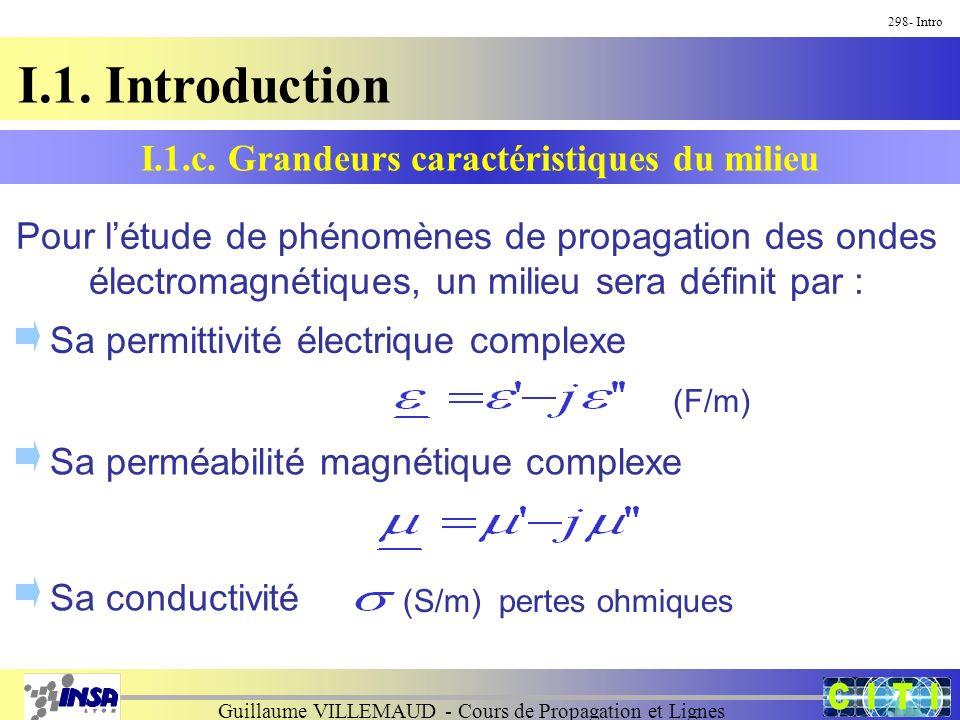 Guillaume VILLEMAUD - Cours de Propagation et Lignes I.1. Introduction 298- Intro Pour létude de phénomènes de propagation des ondes électromagnétique